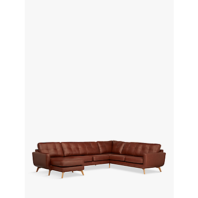 John Lewis & Partners Barbican Leather LHF Grand Corner Chaise End Sofa, Dark Leg