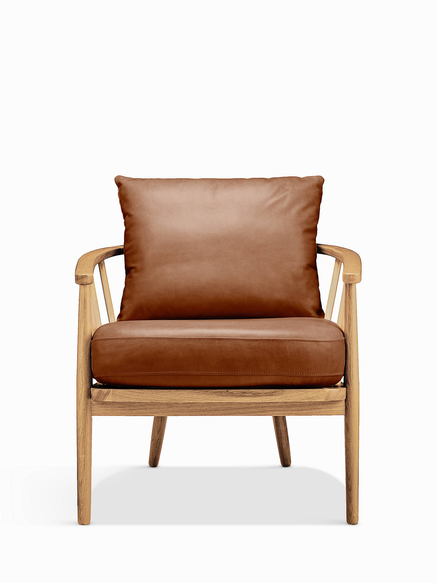 Croft Collection Frome Show Wood Leather Chair Oak Leg Contempo Castanga Online At Johnlewis