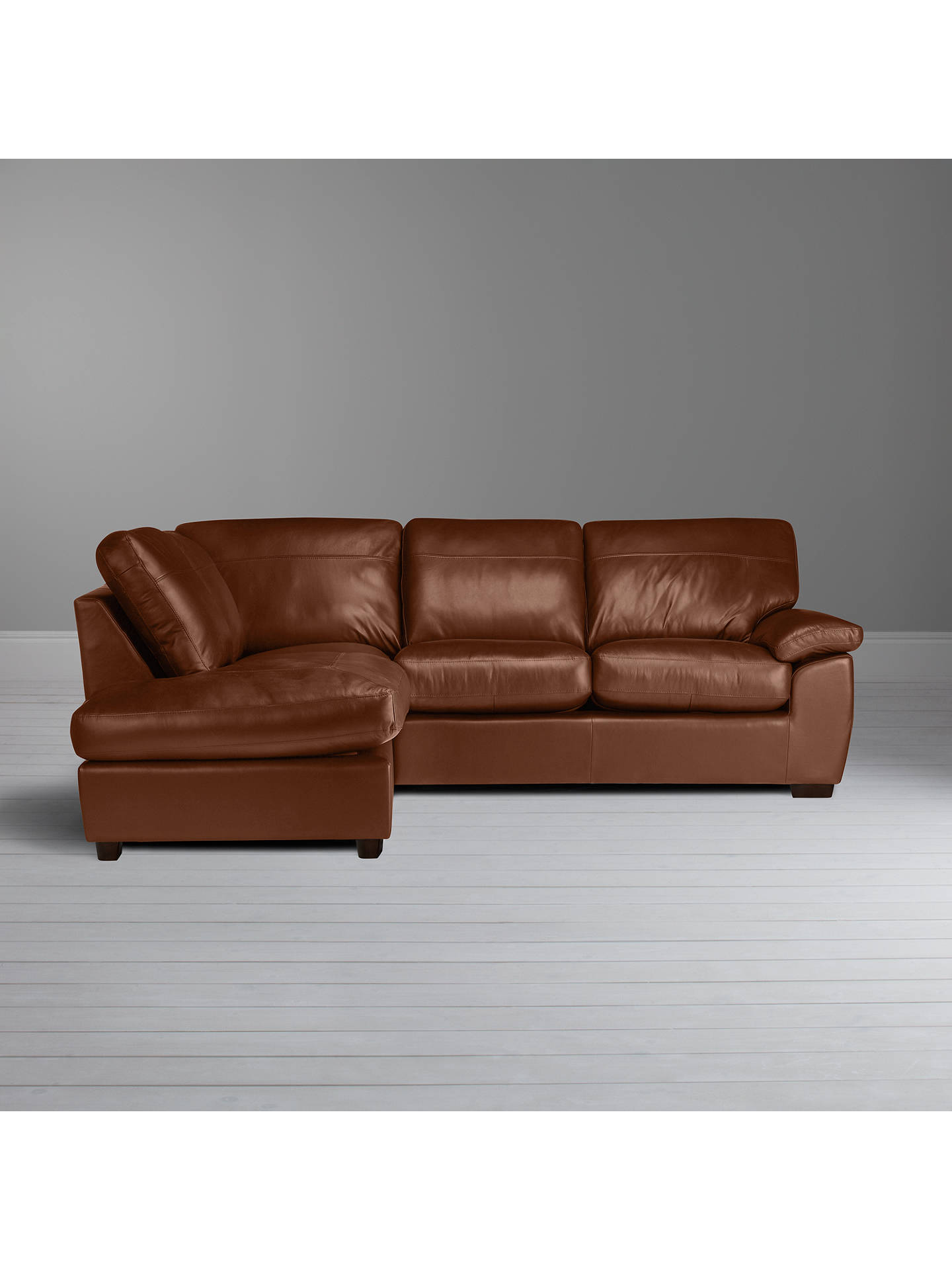 Buy John Lewis & Partners Camden Leather LHF Chaise Corner End Sofa, Dark Leg, Contempo Castanga Online at johnlewis.com