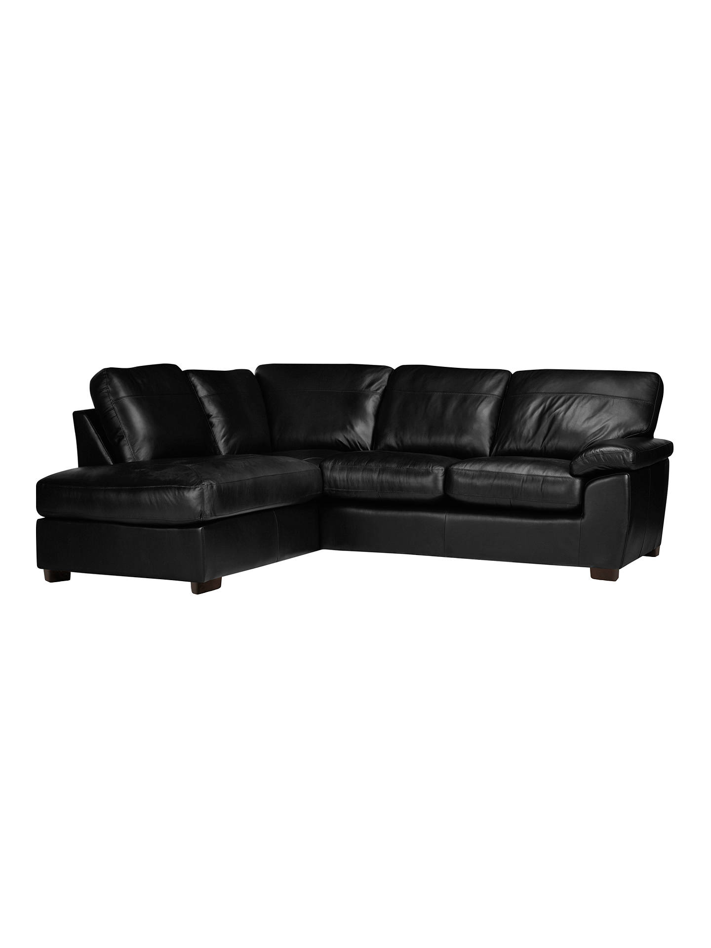 Buy John Lewis & Partners Camden Leather LHF Chaise Corner End Sofa, Dark Leg, Contempo Black Online at johnlewis.com