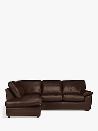 John Lewis & Partners Camden Leather LHF Chaise Corner End Sofa, Dark Leg