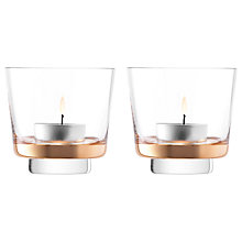 Buy LSA International Edge Glass Tealight Holders, Clear/Rose Gold, Dia.8.5cm, Set of 2 Online at johnlewis.com