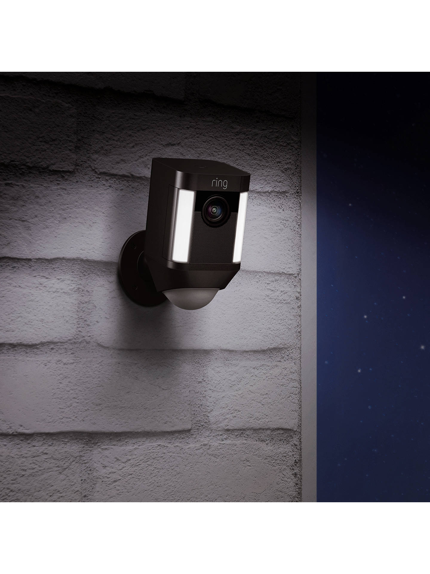 BuyRing Spotlight Cam Smart Security Camera with Built-in Wi-Fi & Siren Alarm, Battery Powered, Black Online at johnlewis.com