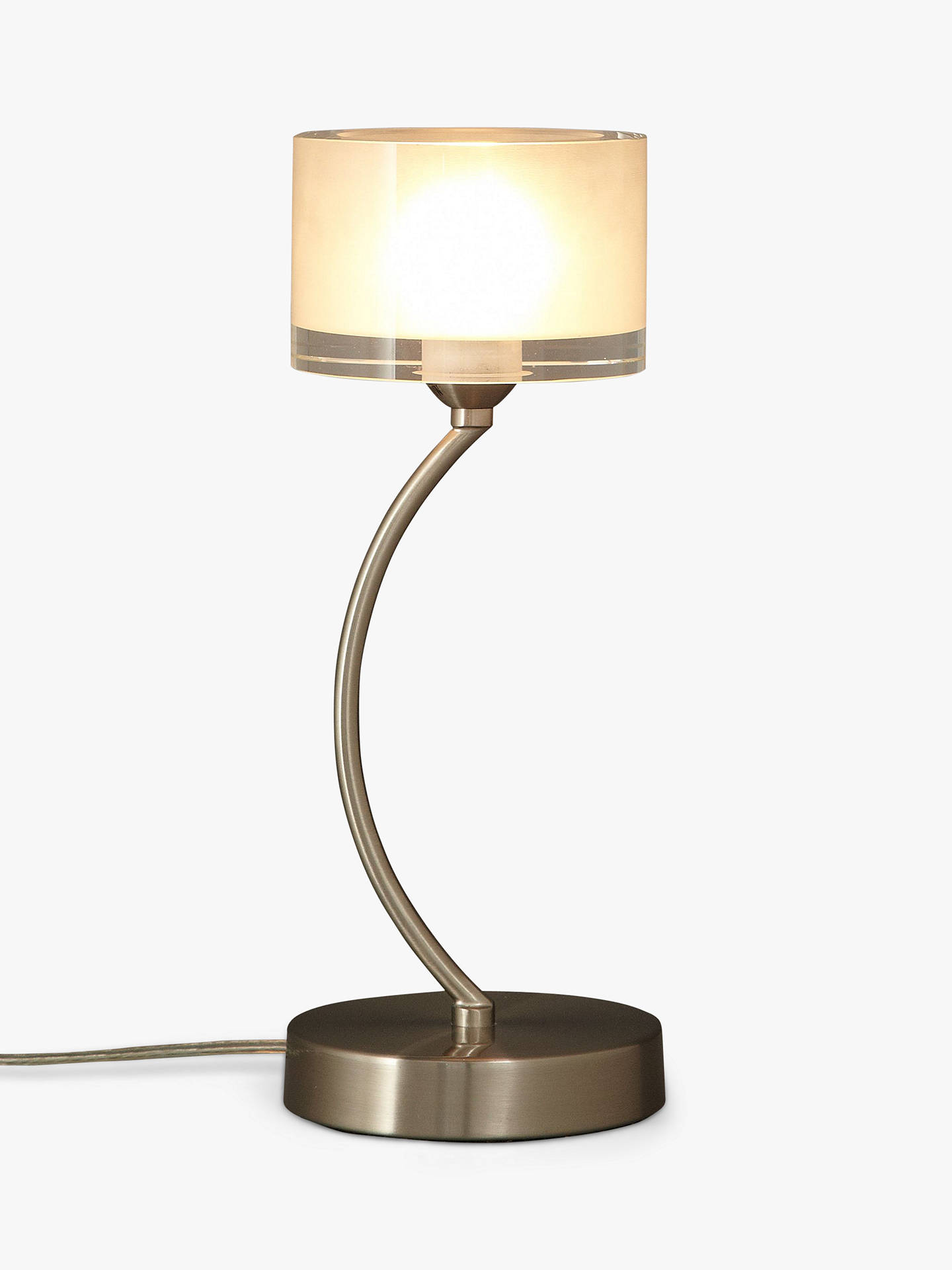 John Lewis & Partners Paige Touch OnOff Table Lamp, Satin Chrome