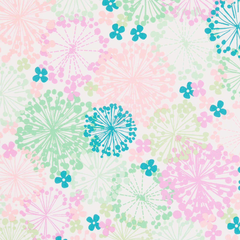 Freespirit Starbust Floral Print Fabric Turquoise at John Lewis