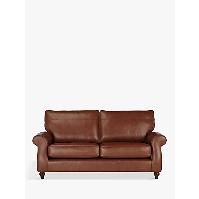 John Lewis Hannah Leather Large 3 Seater Sofa, Dark Leg, Contempo Castanga