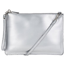 Buy Warehouse Leather Top Zip Cross Body Bag, Silver Online at johnlewis.com