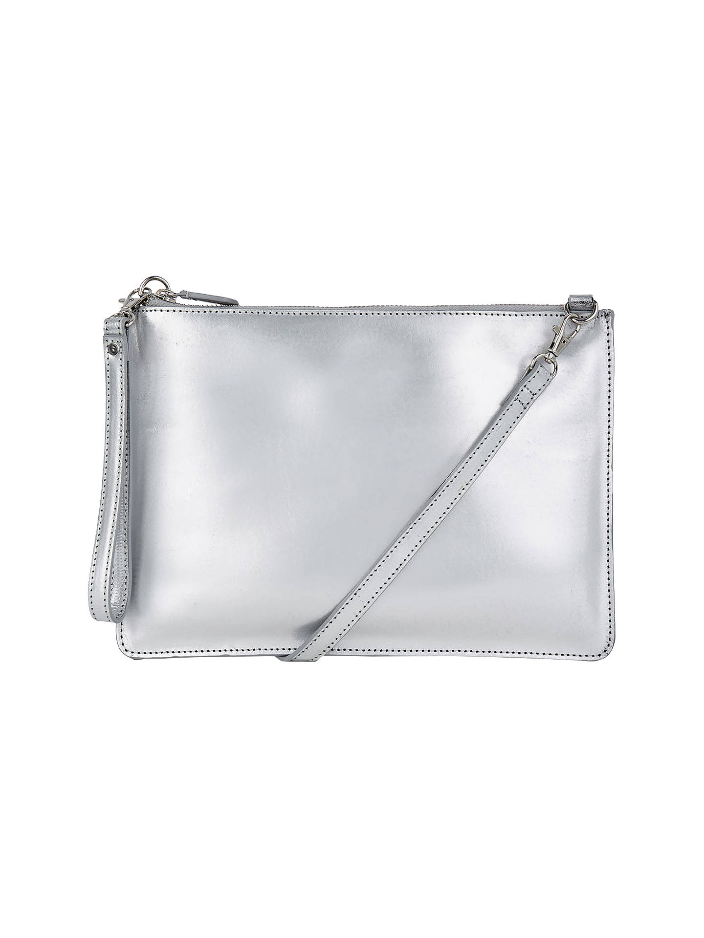 9a1ca6ca120 BuyWarehouse Leather Top Zip Cross Body Bag, Silver Online at johnlewis.com  ...