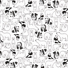Buy Sevenberry Pandas And Polar Bears Print Fabric, White/Black Online at johnlewis.com