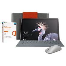 "Buy Microsoft Surface Pro Tablet, Intel Core i5, 8GB RAM, 256GB SSD, 12.3"" PixelSense Display, Silver, with Microsoft Surface Bluetooth Mouse and Saffiano Surface Sleeve, Steel Grey, with Office 365 Home Subscription Online at johnlewis.com"