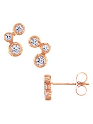 London Road 9ct Rose Gold Diamond Stud Earrings