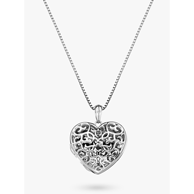 Image of  			   			  			   			  Hot Diamonds Small Heart Filigree Locket Pendant Necklace, Silver