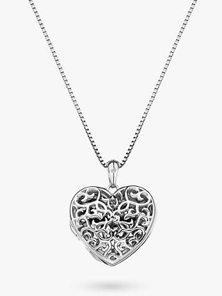 Hot Diamonds Small Heart Filigree Locket Pendant Necklace, Silver