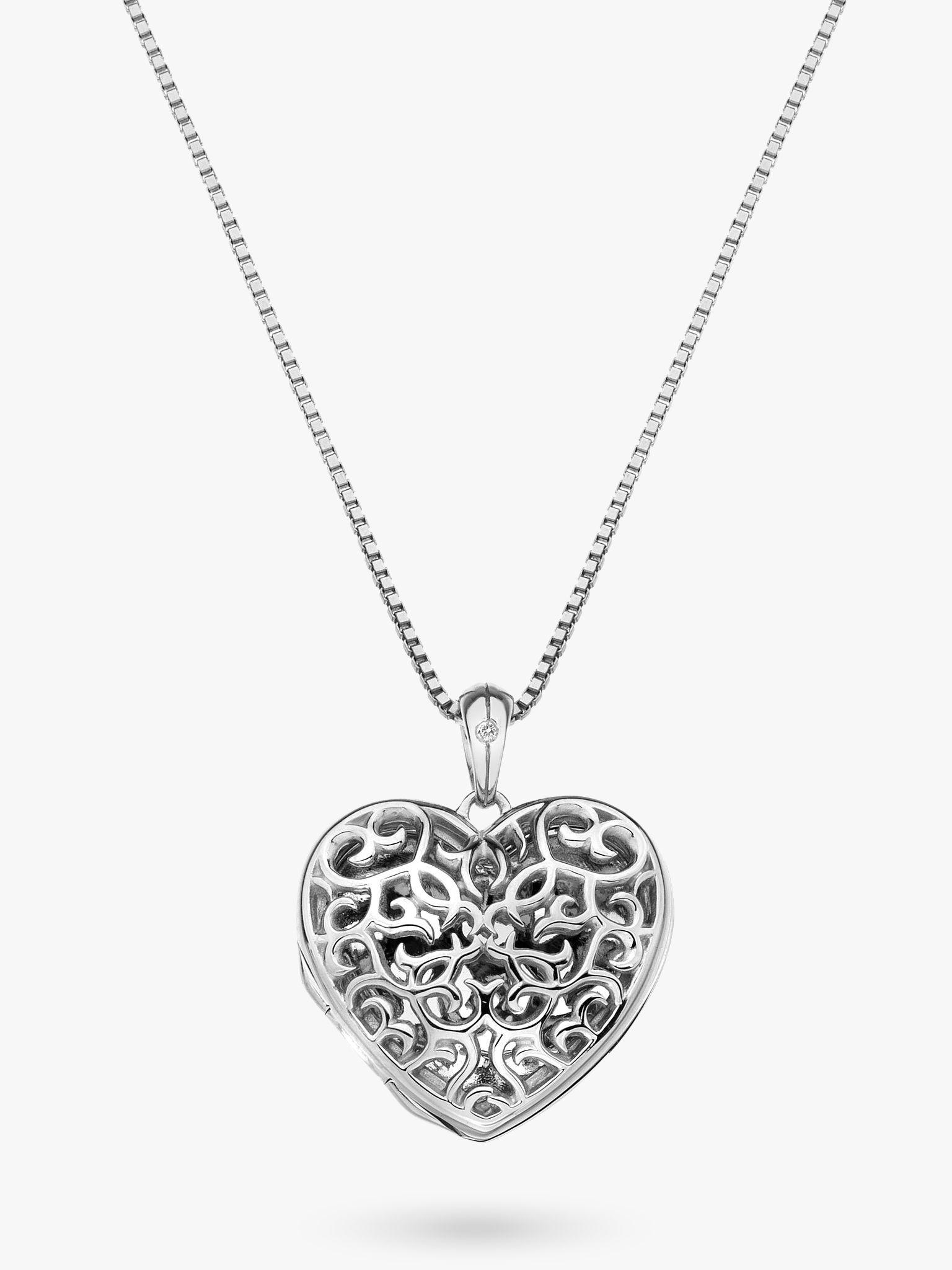 Hot Diamonds Hot Diamonds Small Heart Filigree Locket Pendant Necklace, Silver
