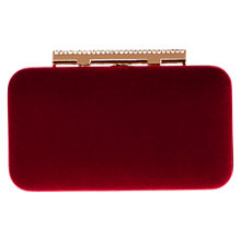 Buy Coast Bellina Velvet Clutch Bag, Red Online at johnlewis.com