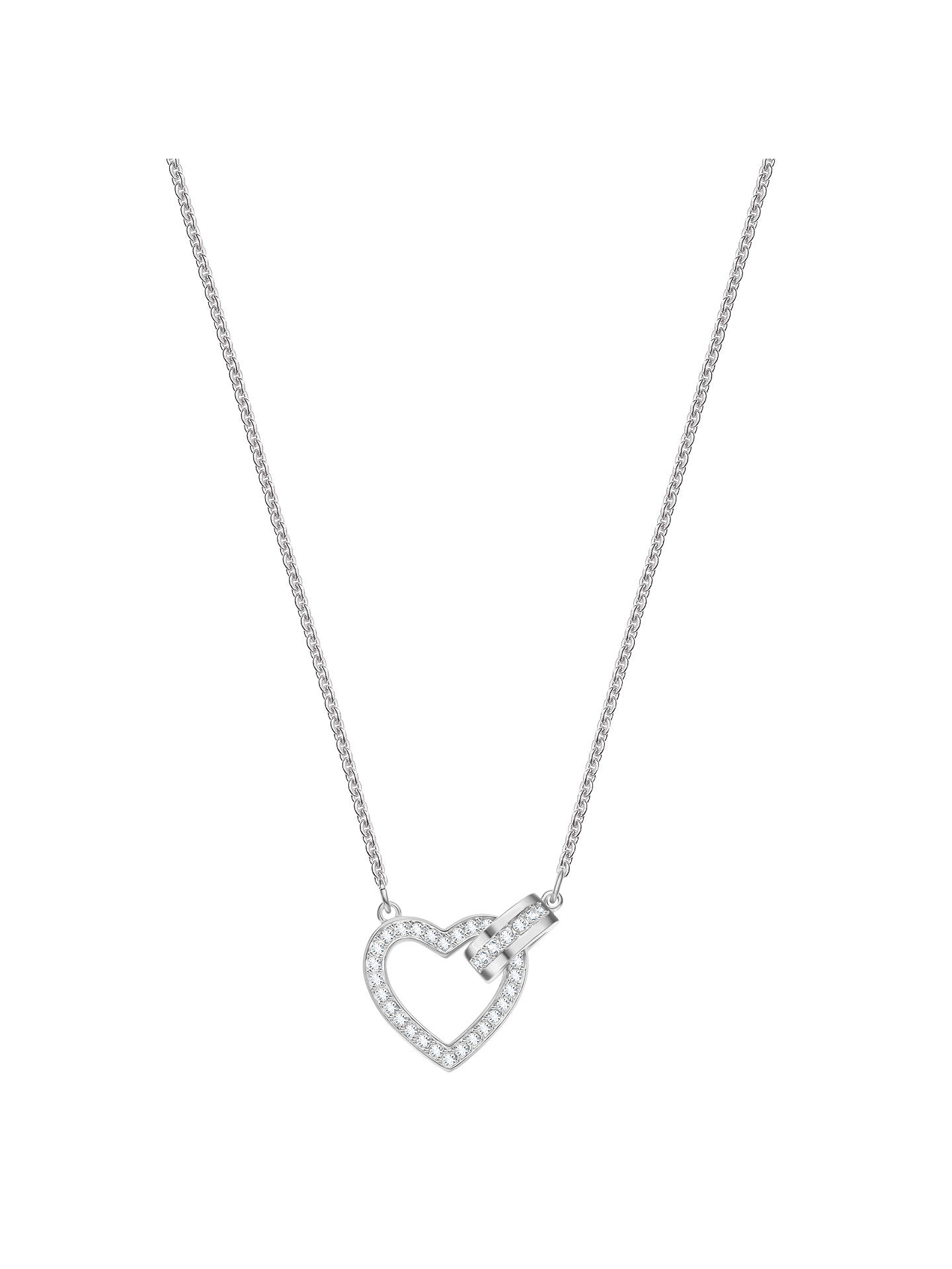 BuySwarovski Lovely Crystal Heart Pendant Necklace, Silver Online at johnlewis.com