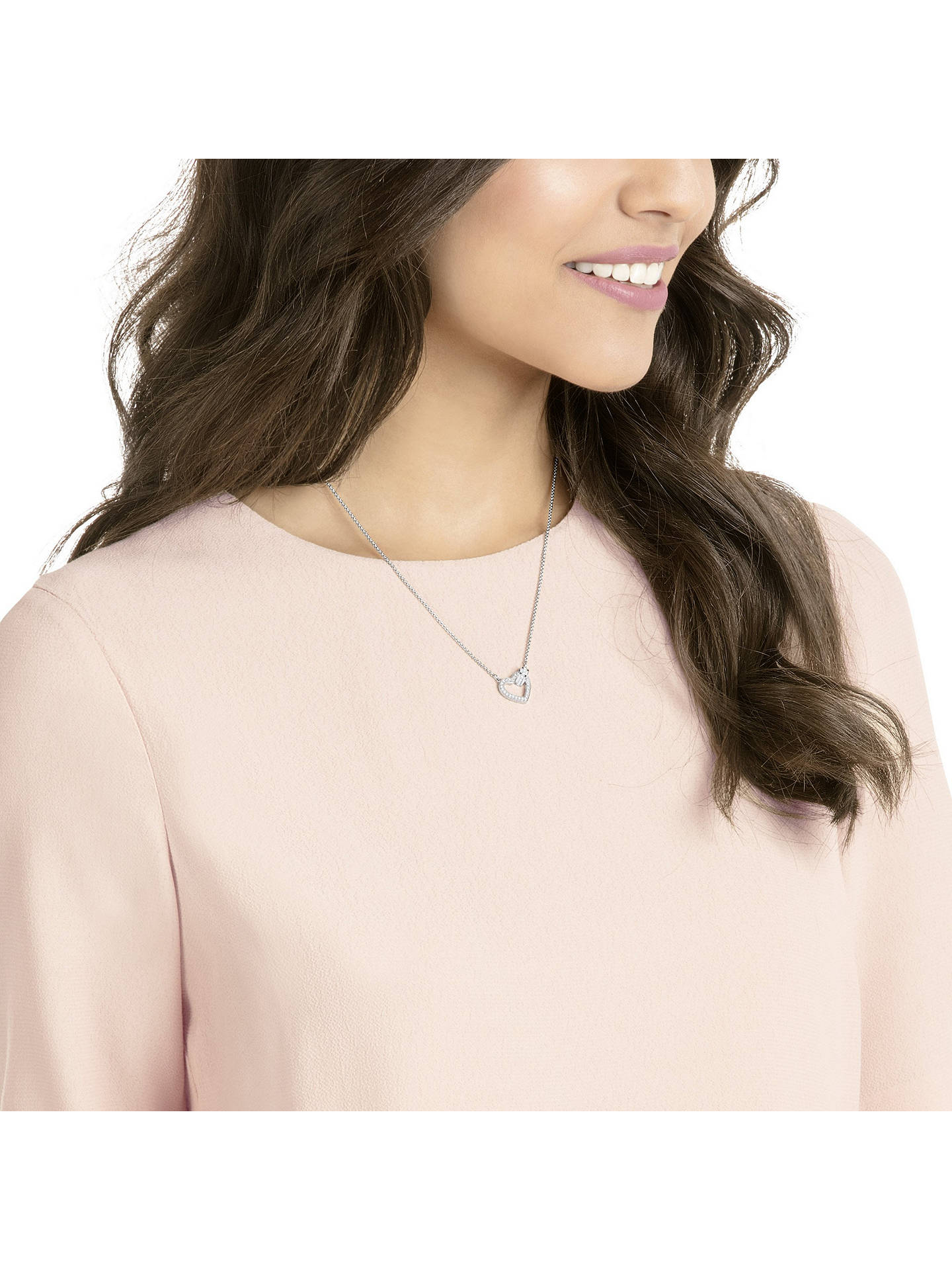 Buy Swarovski Lovely Crystal Heart Pendant Necklace, Silver Online at johnlewis.com