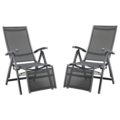 KETTLER Surf Multi Relaxer Adjustable Sunloungers, Grey, Set of 2