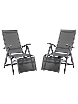 KETTLER Surf Multi Relaxer Adjustable Sun Loungers, Grey, Set of 2