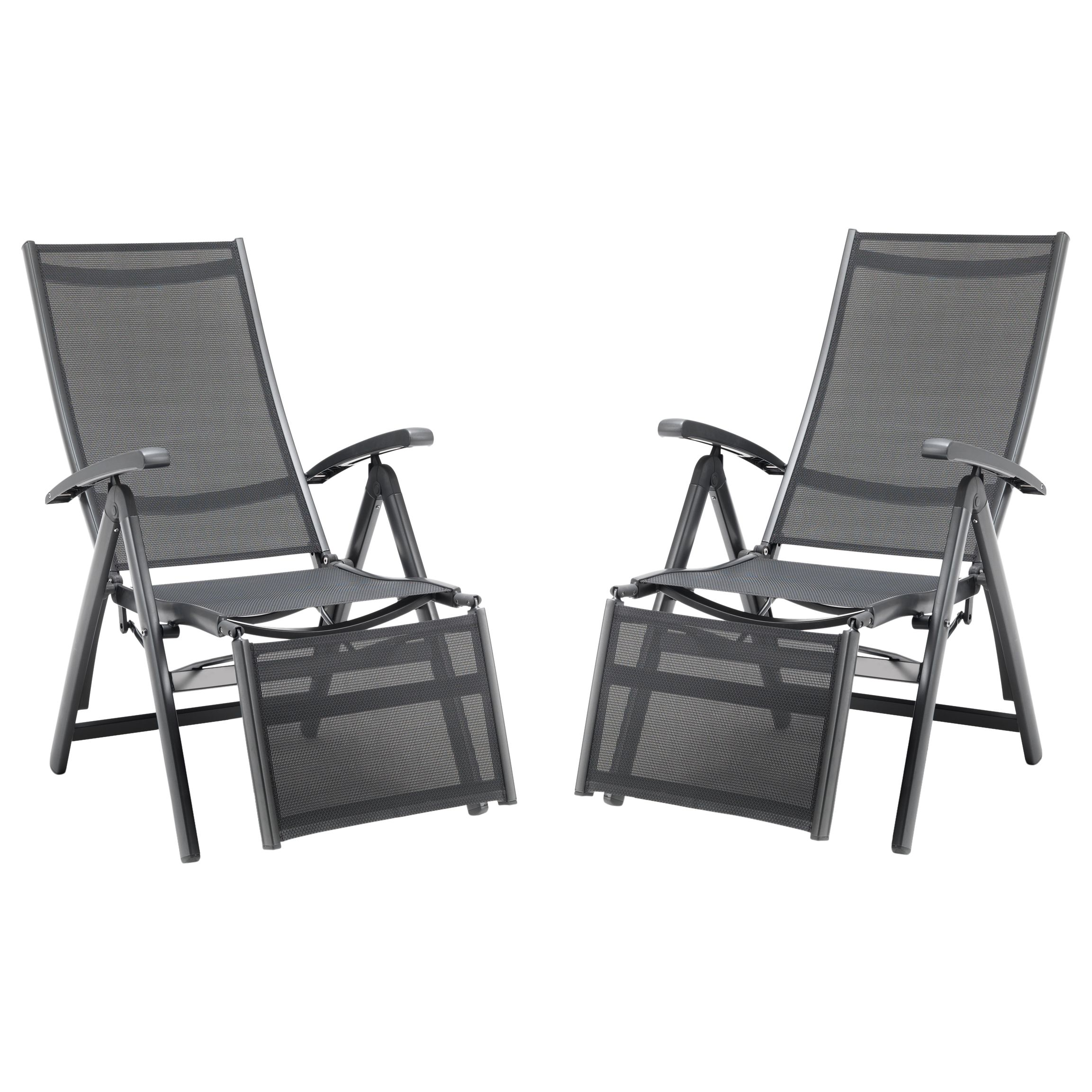 Kettler KETTLER Surf Multi Relaxer Adjustable Sun Loungers, Grey, Set of 2