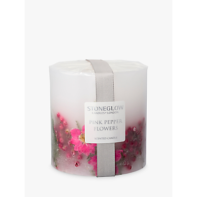 Stoneglow Pink Pepper Flowers Scented Pillar Candle