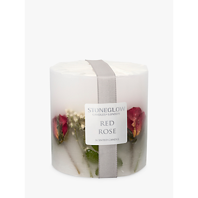 Stoneglow Red Rose Scented Pillar Candle