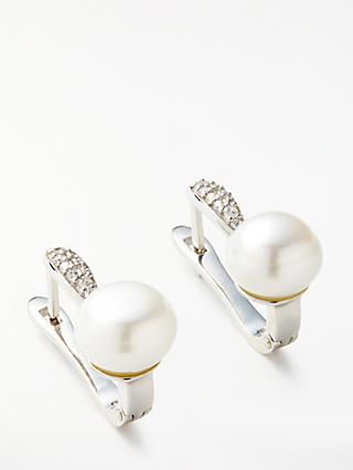 Lido Button Pearl and Cubic Zirconia Bar Earrings, Silver