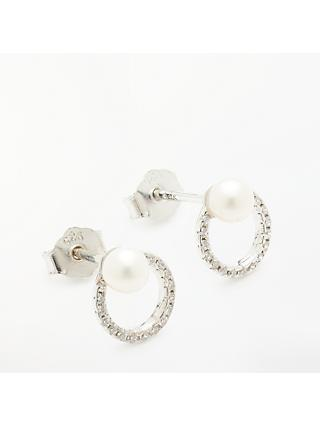 Lido Delicate Single Ring and Pearl Earrings, Silver