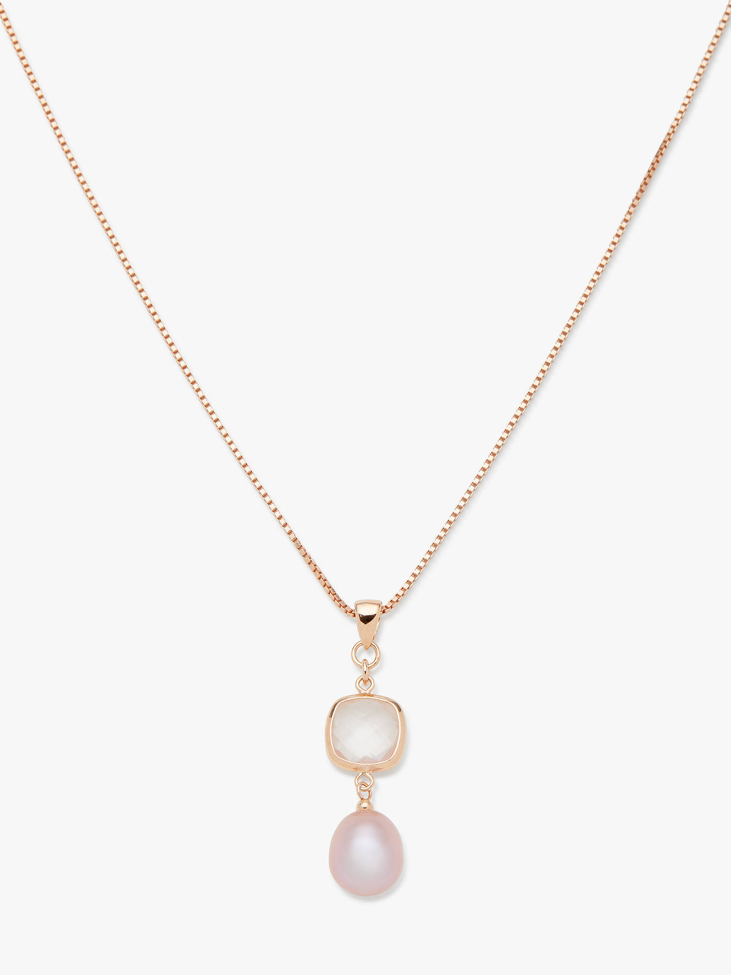 BuyLido Pearls Rose Quartz and Freshwater Pearl Pendant Necklace, Rose Gold Online at johnlewis.com