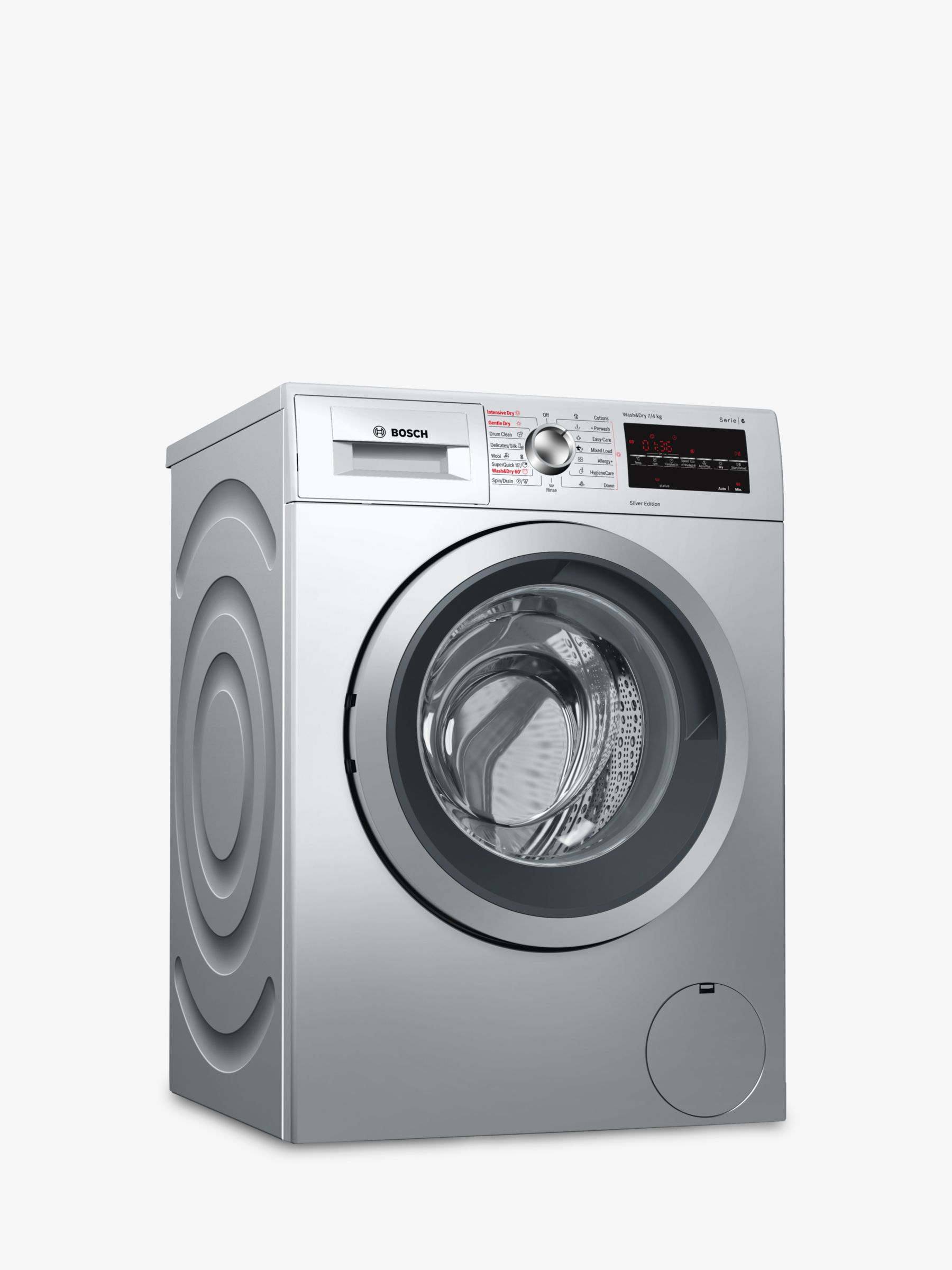 Bosch Bosch WVG3047SGB Freestanding Washer Dryer, 7kg Wash/4kg Dry Load, A Energy Rating, 1500rpm Spin, Silver