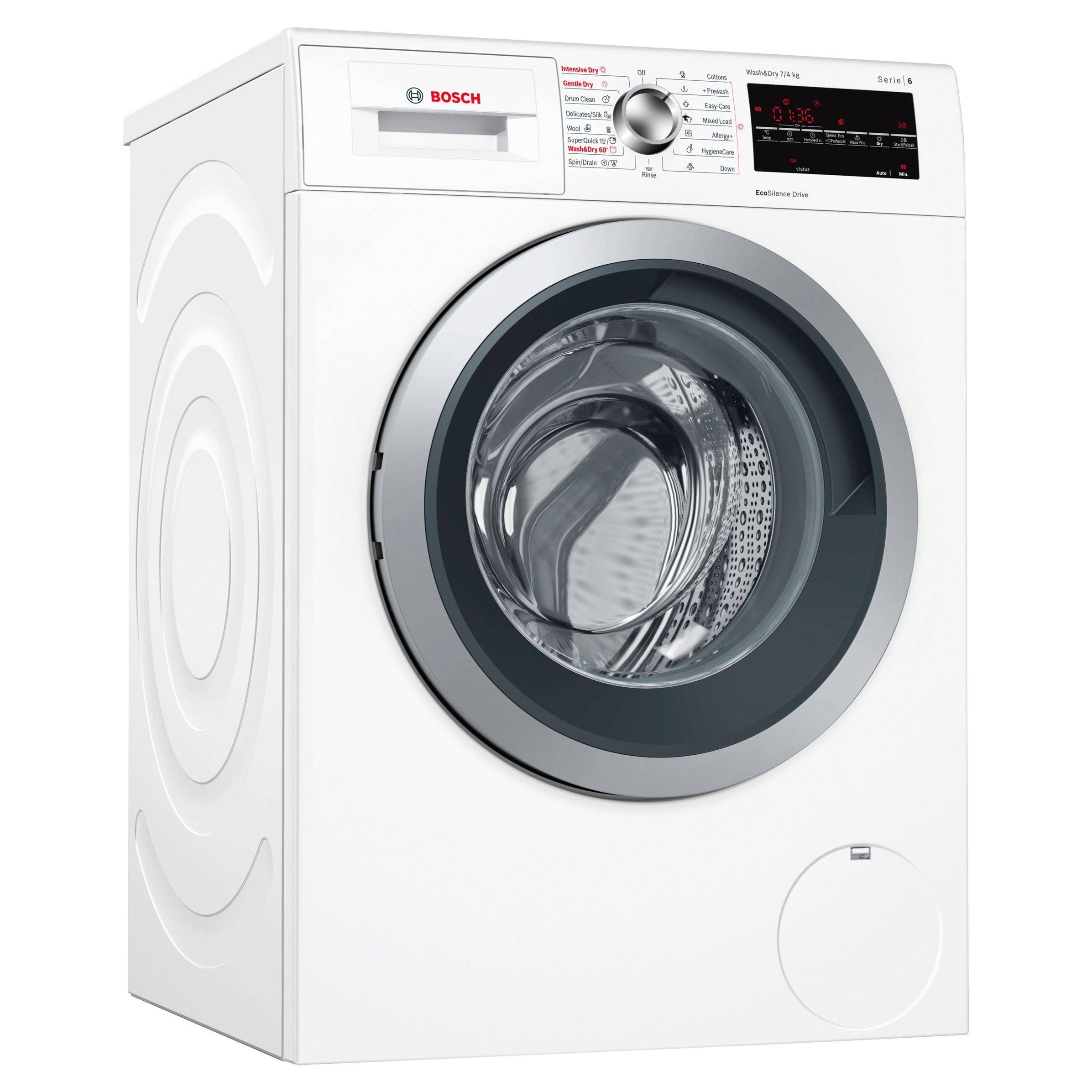 Bosch Bosch WVG30462GB Serie 6 Freestanding Washer Dryer, 7kg Wash/4kg Dry Load, A Energy Rating, 1500rpm Spin, White
