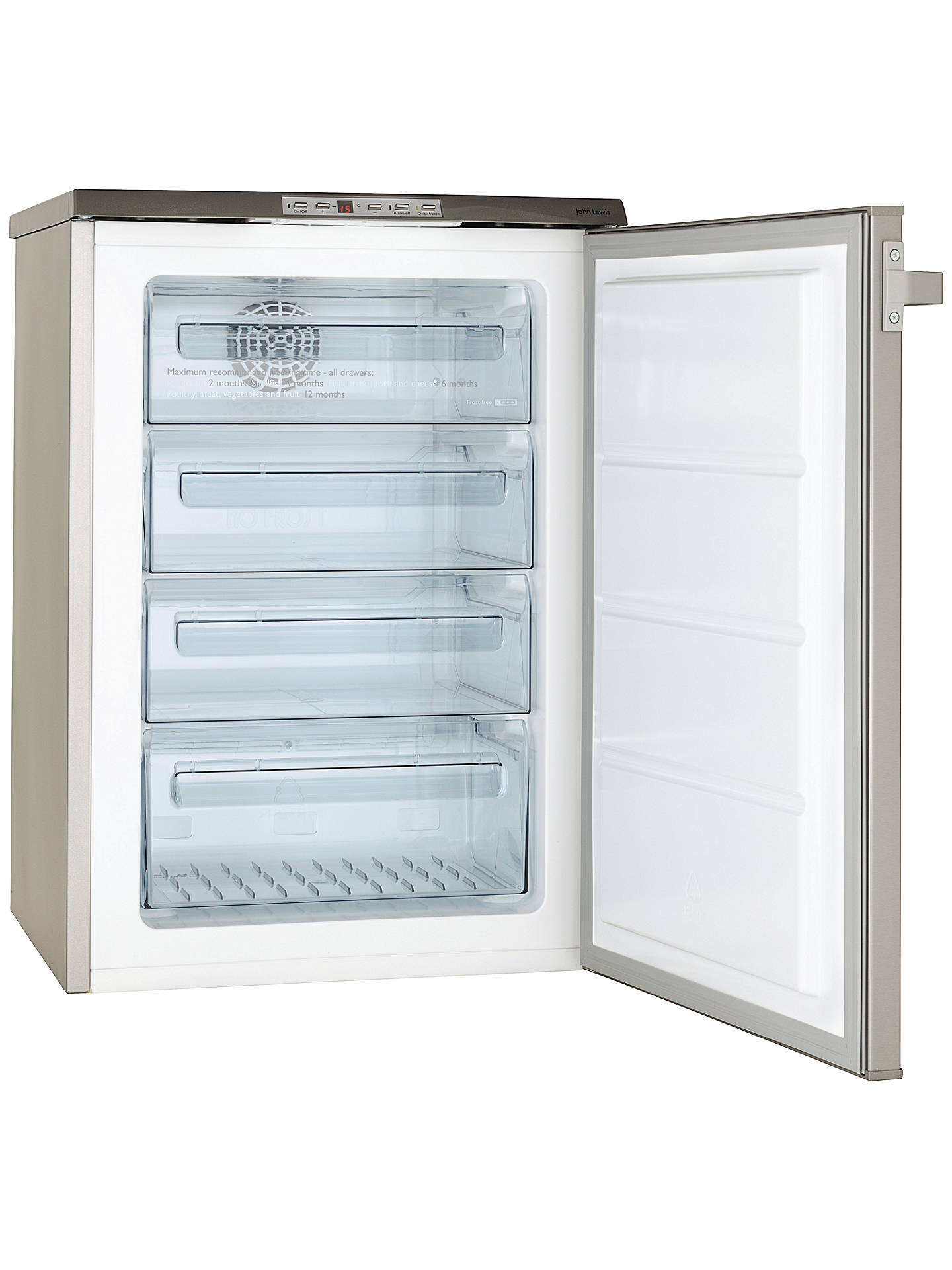 BuyJohn Lewis & Partners JLUCFZS617 Frost Free Freezer, A+ Energy Rating, 60cm Wide, Stainless Steel Online at johnlewis.com