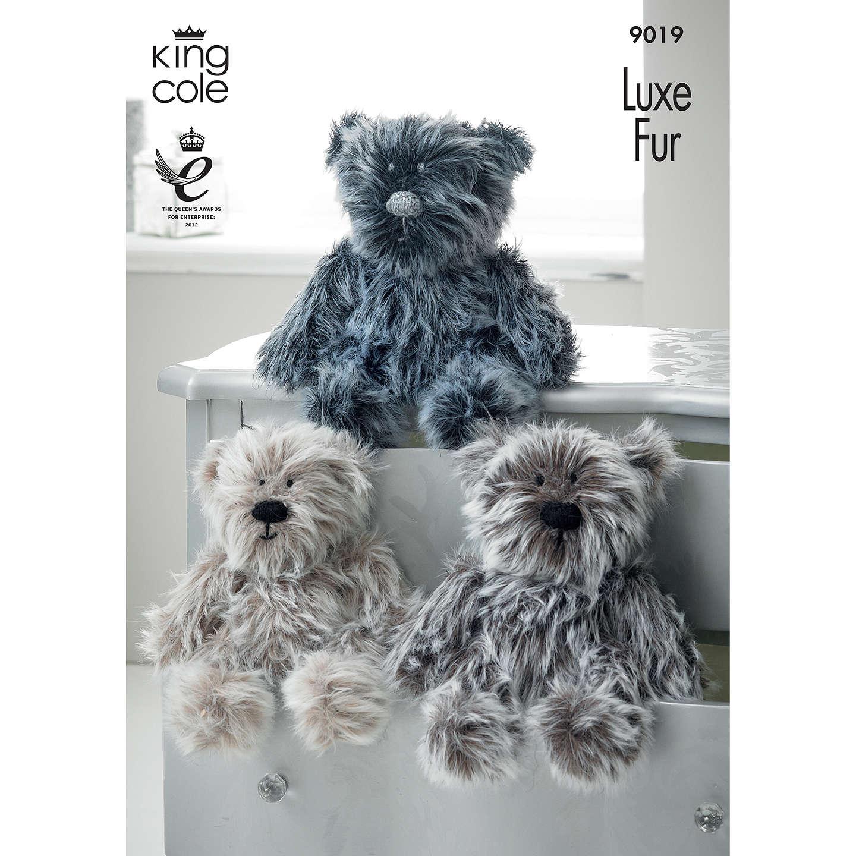 King Cole Luxe Faux Fur Teddy Bear Knitting Pattern, 9019 at John Lewis