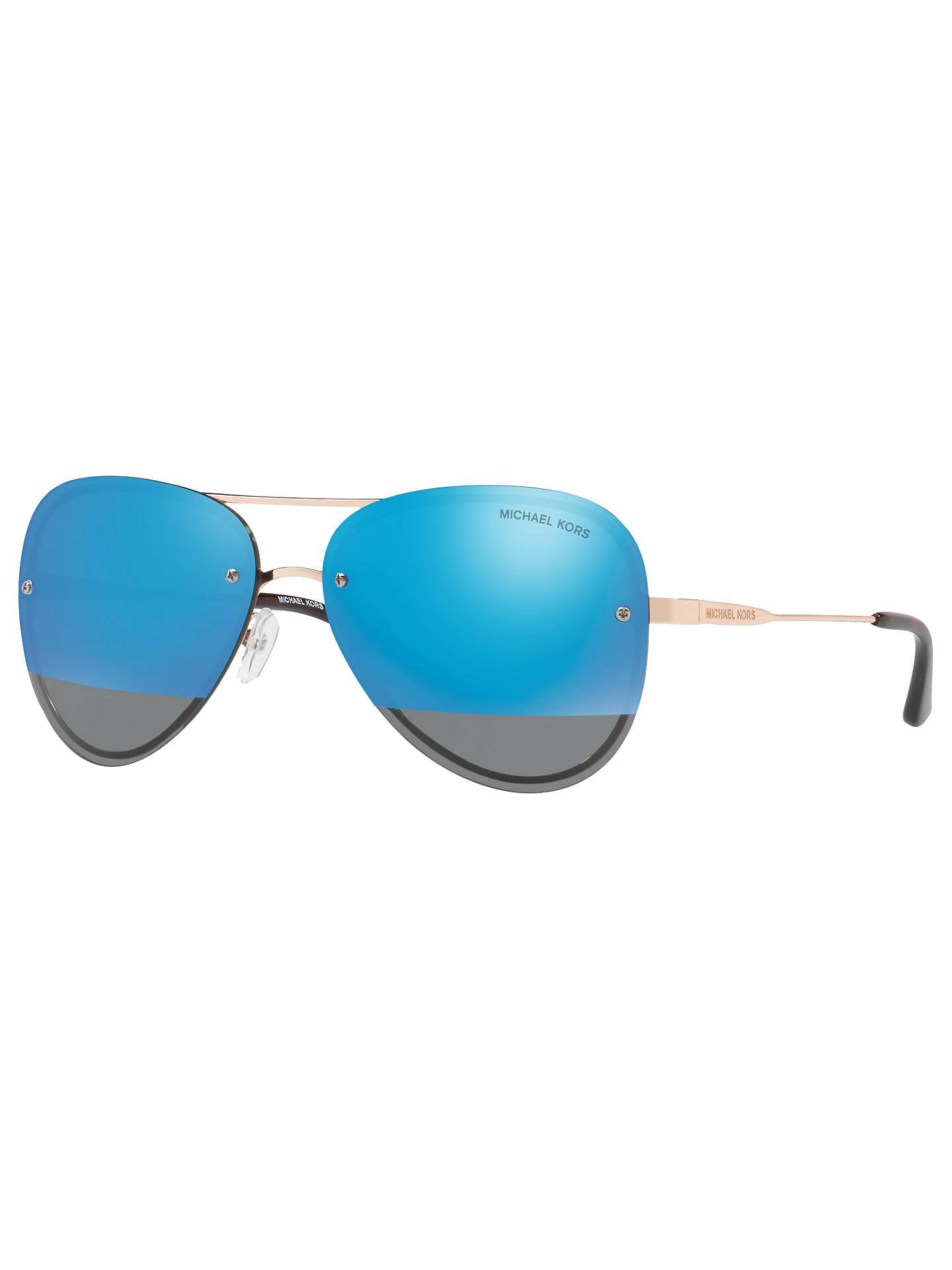 b89525f0de37 Buy Michael Kors MK1026 La Jolla Aviator Sunglasses, Rose Gold/Mirror Blue  Online at ...