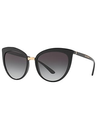 Dolce & Gabbana DG6113 Cat's Eye Sunglasses, Black/Grey Gradient