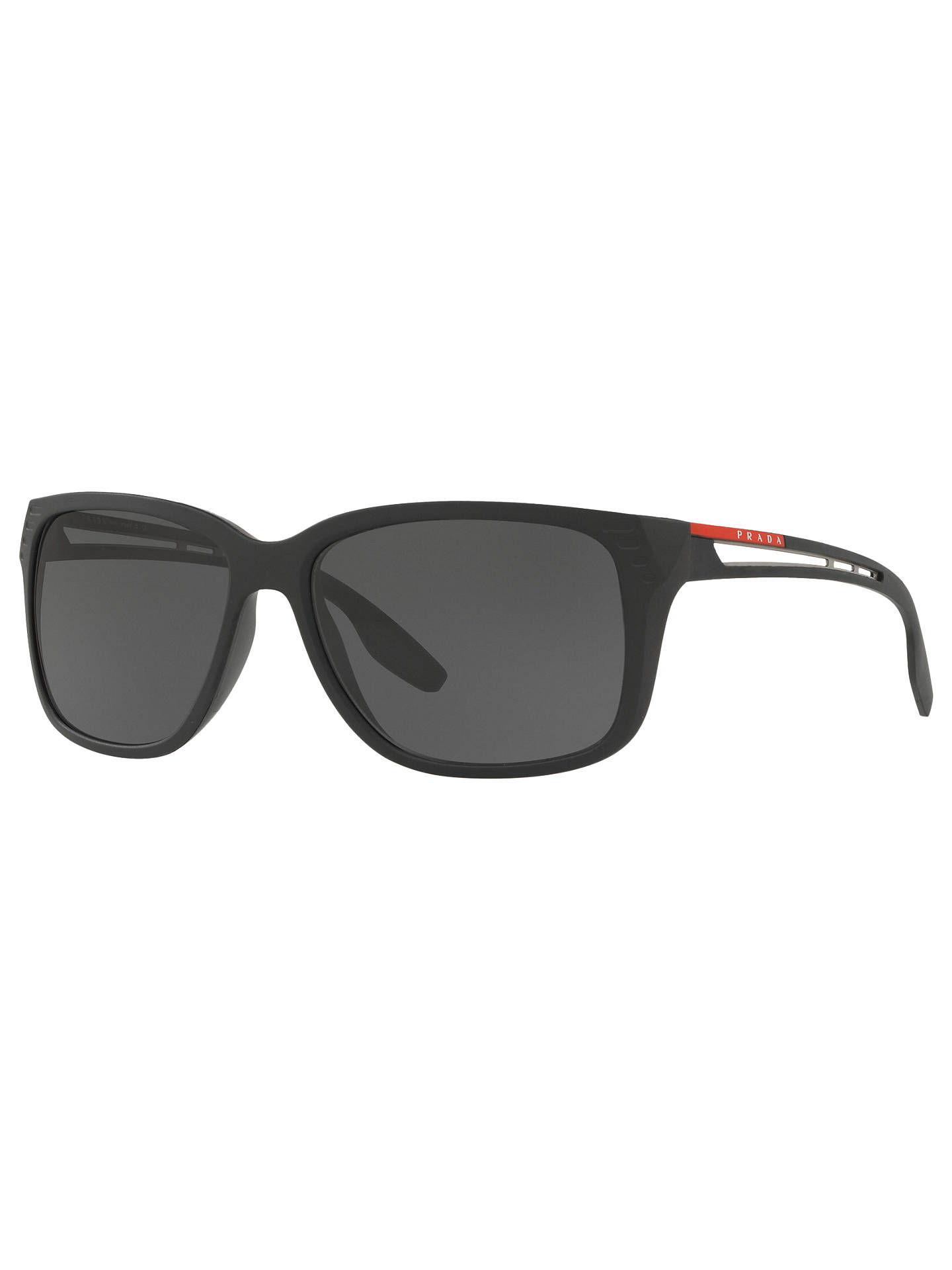f9831a884d95 Buy Prada Linea Rossa PS 03TS Rectangular Sunglasses, Matte Black/Grey  Online at johnlewis ...
