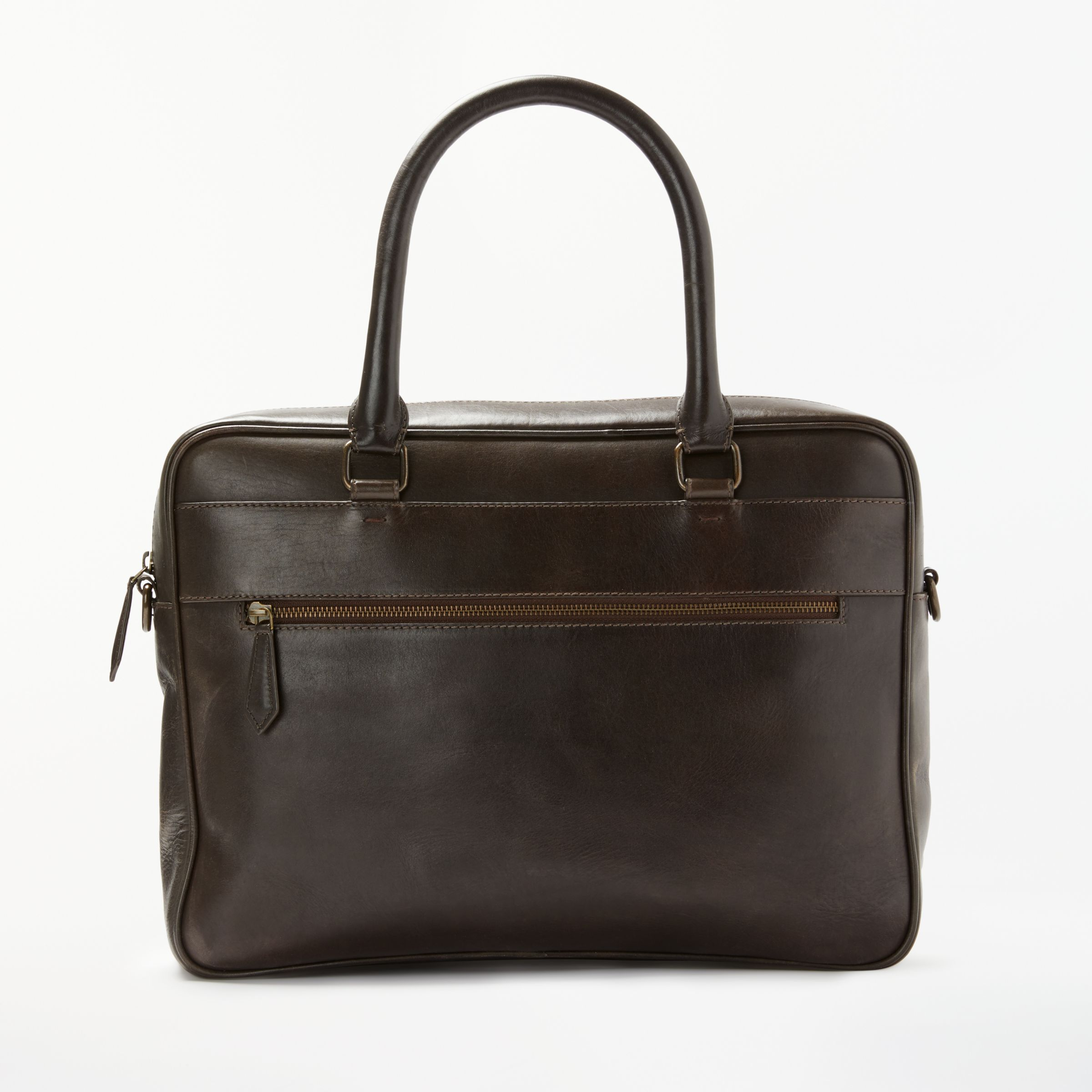 02874a8ae9d John Lewis   Partners Milan Leather Briefcase, Brown at John Lewis    Partners