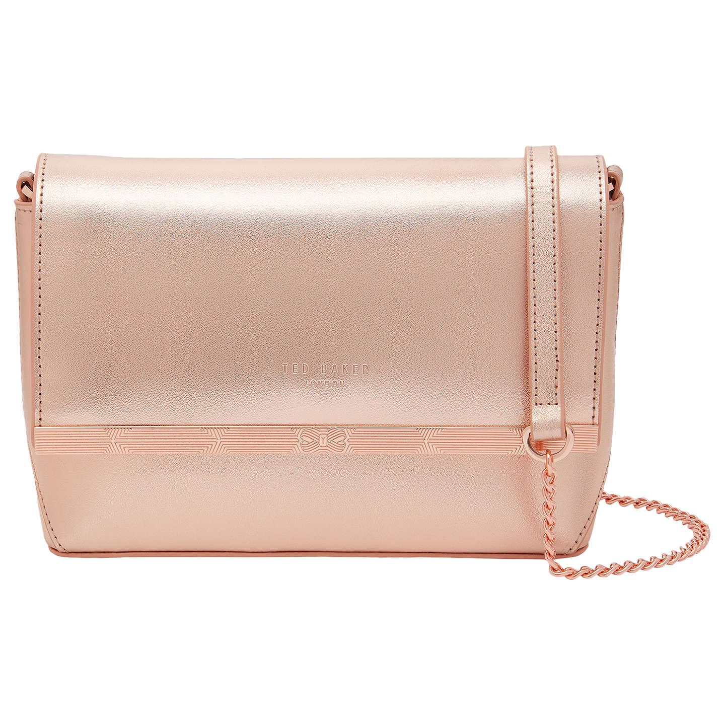 Ted Baker Melisaa Leather Cross Body Bag Rose Gold Online At Johnlewis
