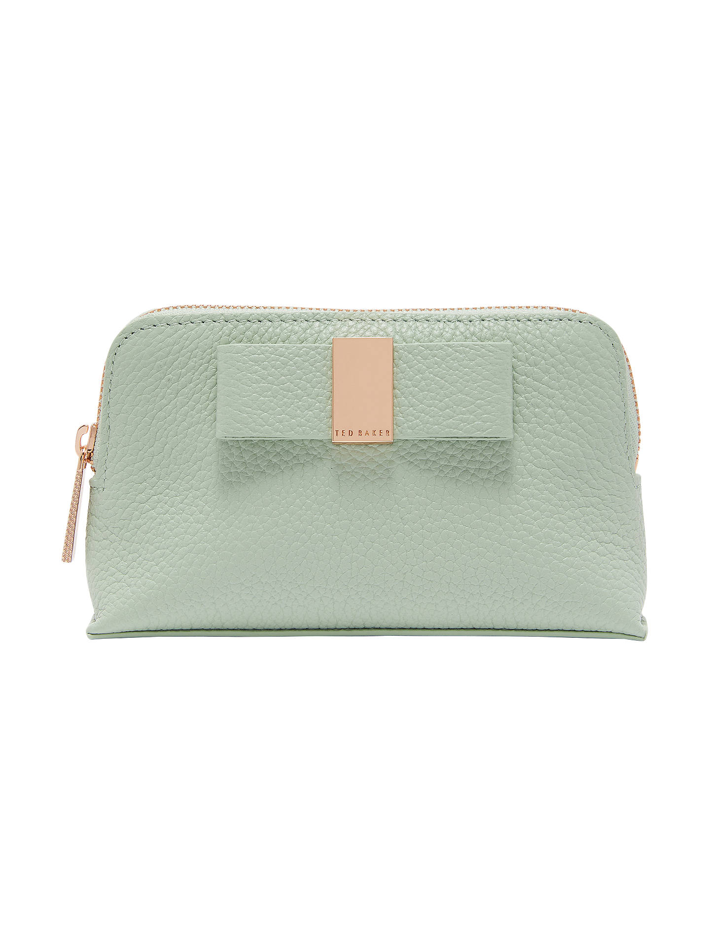 BuyTed Baker Raulph Leather Bow Makeup Bag, Olive Online at johnlewis.com  ... 59476a9cb9