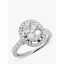 Buy EWA 18ct White Gold Oval Diamond Cluster Ring Online at johnlewis.com