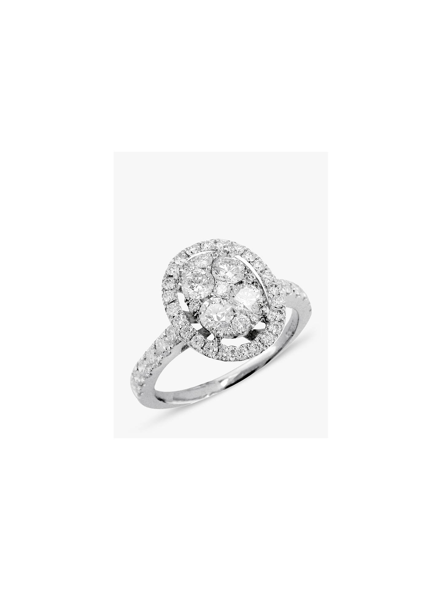 Buy E.W Adams 18ct White Gold Oval Diamond Cluster Ring Online at johnlewis.com