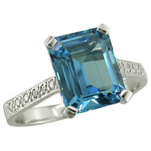 Buy EWA 18ct White Gold Diamond Shoulder Cocktail Ring, Blue Topaz Online at johnlewis.com