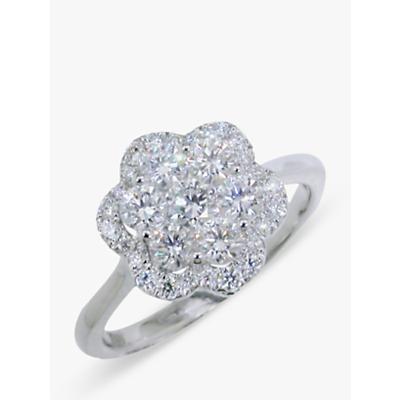 E.W Adams 18ct White Gold Diamond Cluster Flower Ring