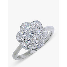 Buy EWA 18ct White Gold Diamond Cluster Flower Ring Online at johnlewis.com