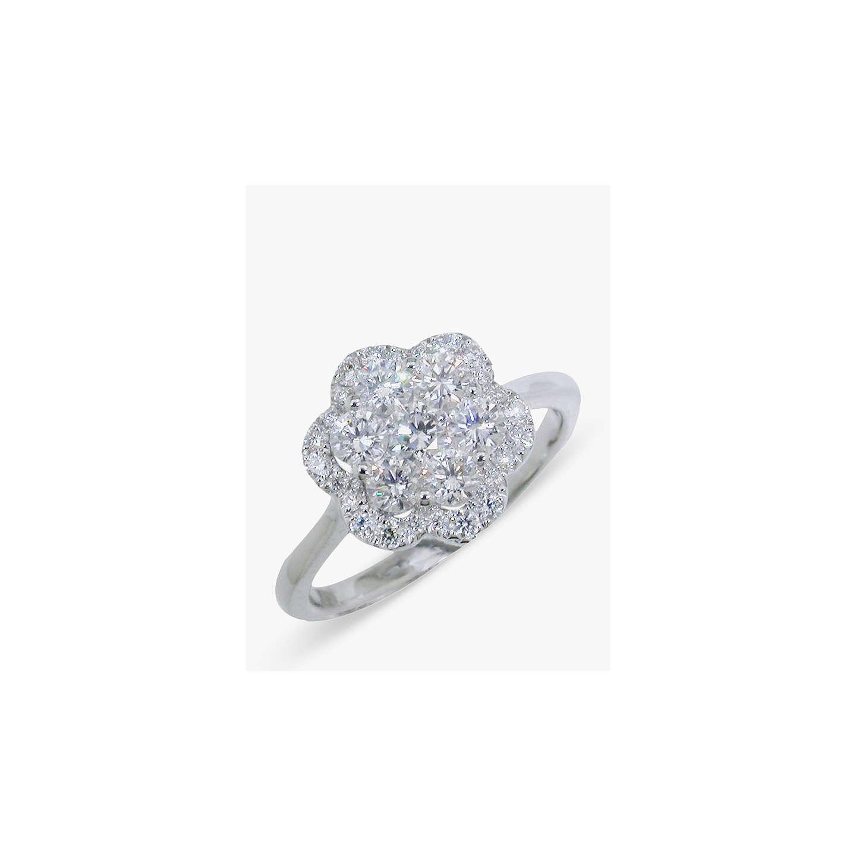 Ewa 18ct White Gold Diamond Cluster Flower Ring At John Lewis
