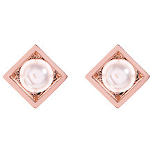 Buy Karen Millen Cube Cage Faux Pearl Stud Earrings Online at johnlewis.com