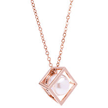 Buy Karen Millen Cube Cage Faux Pearl Pendant Necklace Online at johnlewis.com