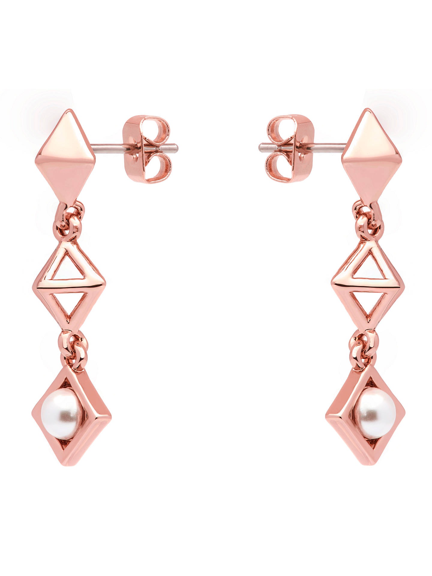 BuyKaren Millen Pyramid Faux Pearl Drop Earrings, Rose Gold Online at johnlewis.com