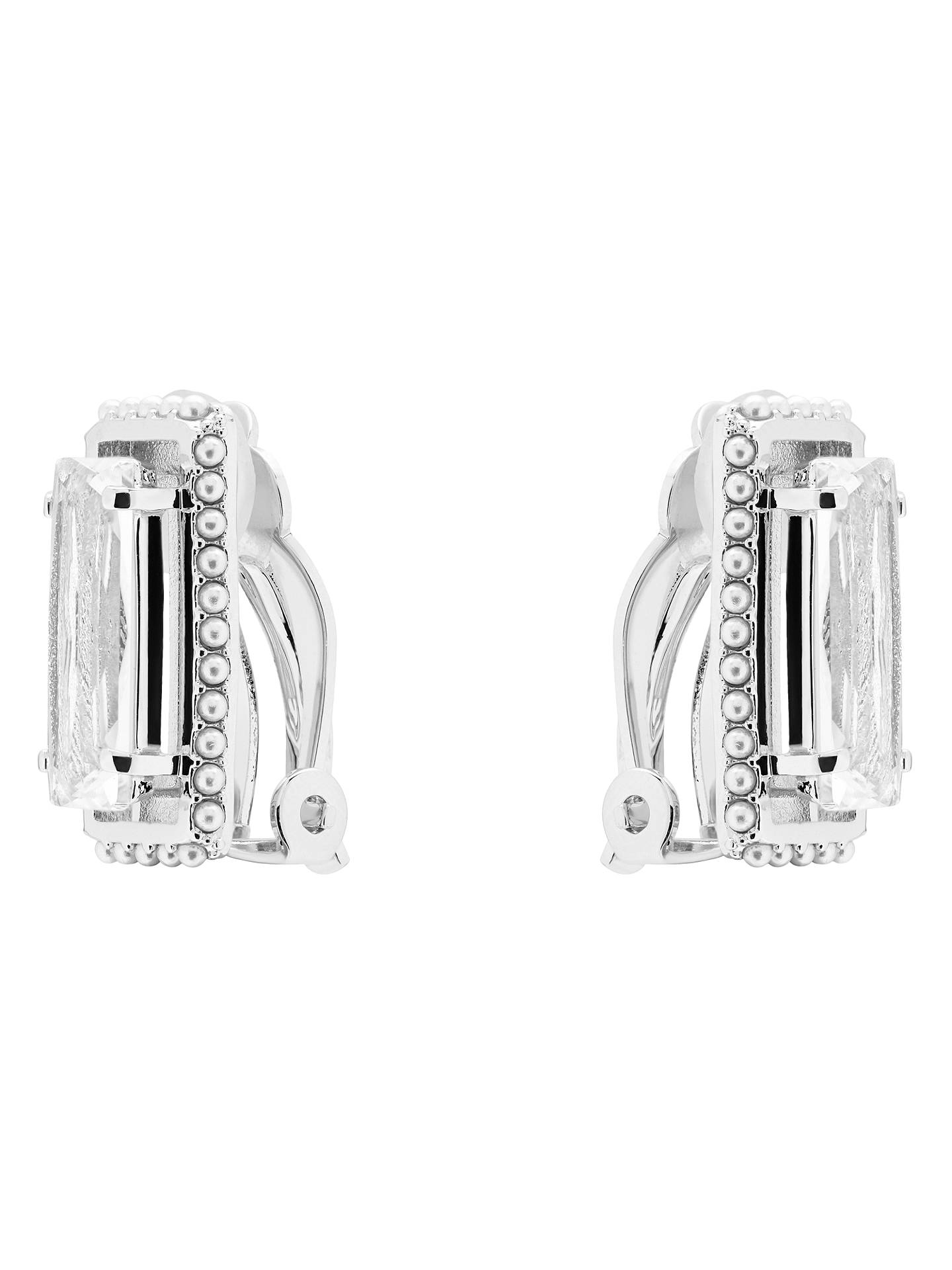 BuyTed Baker Prie Faux Pearl Frame Swarovski Crystal Baguette Clip-On Earrings, Silver Online at johnlewis.com