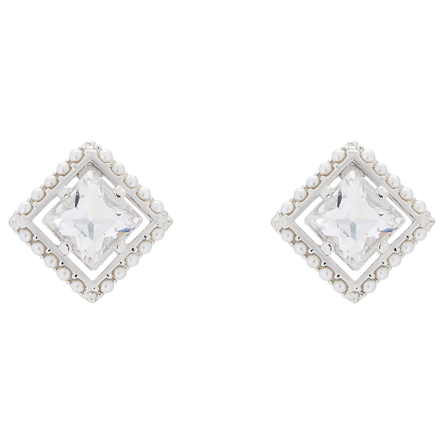 Ted Baker Payge Faux Pearl Frame Swarovski Crystal Square Stud Earrings Silver Online At Johnlewis
